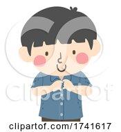 04/15/2021 - Kid Boy Buttoning Shirt Illustration