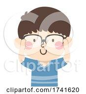 Kid Boy Put On Reading Glasses Illustration