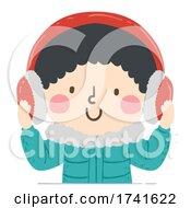 Kid Boy Wear Ear Muffs Winter Illustration