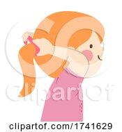04/15/2021 - Kid Girl Ponytail Tie Illustration
