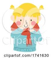 Kid Girl Tie Scarf Winter Wear Illustration