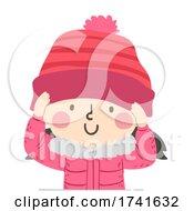 Kid Girl Wear Beanie Bonnet Illustration