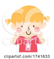Kid Girl Wear Identification Card Illustration