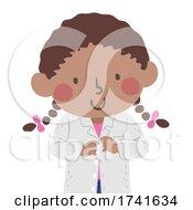 Kid Girl Wear Laboratory Coat Illustration