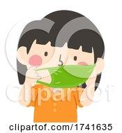 Kid Girl Wear Mouth Mask Illustration