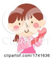 Kid Girl Wear Oven Gloves Baking Illustration