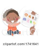 Kid Toddler Boy Black Learn Animals Paper Print