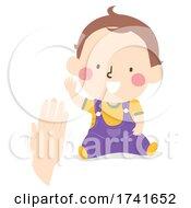 Kid Toddler Boy Gesture Wave Illustration