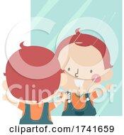 04/15/2021 - Kid Toddler Boy Looking At Mirror Illustration