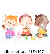 Poster, Art Print Of Kids Toddlers Play Animal Toys Illustration