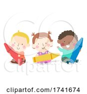 04/16/2021 - Kids Toddlers Primary Colors Crayons Illustration