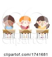 04/16/2021 - Kids Boy Active Class Raise Hand Illustration