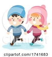 04/15/2021 - Kids Boy Girl Ice Skating Hold Hands Illustration