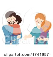 04/16/2021 - Kids Carried Dad Talking Illustration