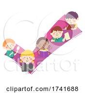 Poster, Art Print Of Kids Check Mark Study Laptop Books Illustration