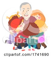 04/16/2021 - Kids Grandfather Hug Senior Man Illustration