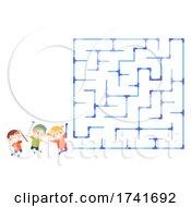 Poster, Art Print Of Kids Group Pipes Maze Start Illustration