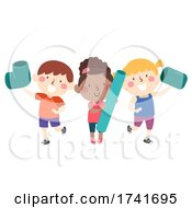 04/16/2021 - Kids Hold Pieces Big Pipes Connect Illustration