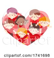 Poster, Art Print Of Kids Inside Heart Red Wave Team Illustration
