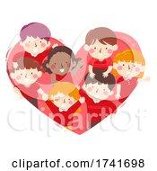 04/16/2021 - Kids Inside Heart Red Wave Team Illustration