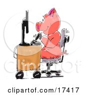 Cute Humanlike Pink Piggy Typing Away On A Computer Keyboard And Working At A Desk In An Office
