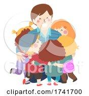 Poster, Art Print Of Kids Man Hug Teacher Illustration
