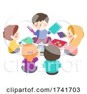 Kids Pick Books To Read Group Illustration