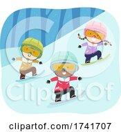 Poster, Art Print Of Kids Snowboarding Goggles Helmet Illustration