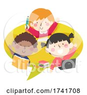 Poster, Art Print Of Kids Speech Bubble Study Laptop Books Illustration