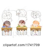 Poster, Art Print Of Kids Write Imagination Thinking Cloud Illustration