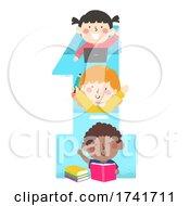Poster, Art Print Of Kids Study Number One Laptop Books Illustration