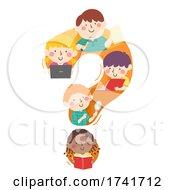 Poster, Art Print Of Kids Study Question Mark Laptop Illustration