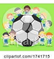 Poster, Art Print Of Kids Boys Soccer Team Big Ball Illustration