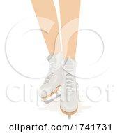 Girl Figure Skating Shoes Illustration