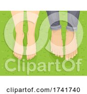 Couple Barefoot Grass Illustration