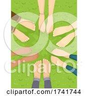 Feet Group Barefoot Grass Illustration