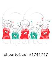 Doodle Kids Choir Christmas Carol Illustration