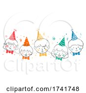 Poster, Art Print Of Doodle Kids Happy Party Hats Bow Tie Illustration