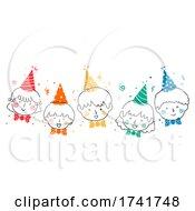 Doodle Kids Happy Party Hats Bow Tie Illustration