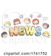 Stickman Kids News Lettering Illustration