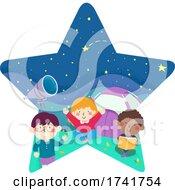 Poster, Art Print Of Kids Star Night Camp Tent Stargazing Illustration