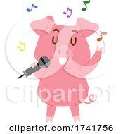 Pig Animal Sing Microphone Illustration