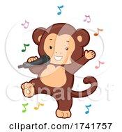 Monkey Sing Music Notes Illustration