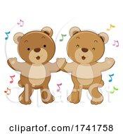 Poster, Art Print Of Bears Dancing Music Notes Illustration