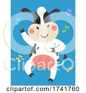 Poster, Art Print Of Cow Animal Dance Music Notes Illustration