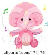 Poster, Art Print Of Dinosaur Triceratops Dancing Illustration