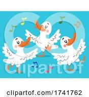Poster, Art Print Of Ducks Animal Dance Illustration