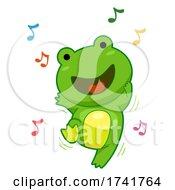 Poster, Art Print Of Frog Dance Music Notes Illustration