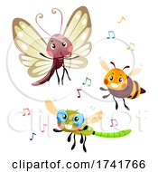 Insects Dance Music Notes Illustration