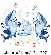 Shark Family Dance Music Notes Illustration